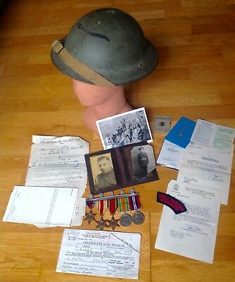 Named Original Ww2 Royal Marine Commando Group, Medals ,helmet ,documents