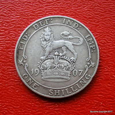 King Edward Vii Sterling Silver 1907 Shilling Collectable Grade.