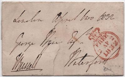 GB: 1832 Pre-Stamp Entire - London to Waterford - Black Wax Seal (10096)