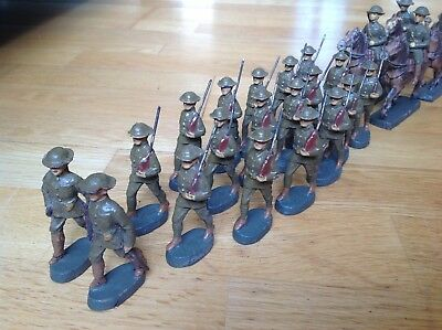 Beautiful Collection Of Elastolin Bef Ww2 British Infantry Soldiers C1939