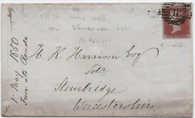 GB: 1850 1d Example on Cover to Stourbridge - With Numeral and Cancel (11130)