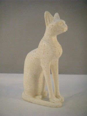 "Alabaster Egyptian Bastet Cat Goddess Statue Figure - New - 6"" Tall"