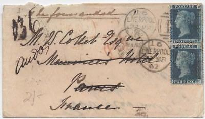 GB: 1862 2d Blue Examples on Cover to France - Liverpool & Vigny Cancels (11154)