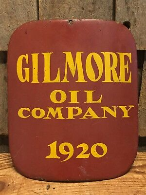 Vintage Early GILMORE Oil Co. 1920 Visible Gas Pump Door Cover Cast Iron Sign