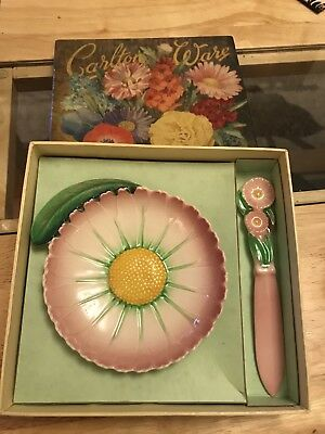 Rare Boxed Carlton Ware Pink Flower ceramic dish and Knife.