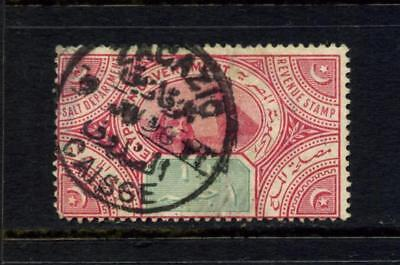 EGYPT c1920 £1 CARMINE & GREEN SALT REVENUE STAMP GOOD USED