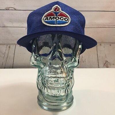 Amoco Gas Vintage Patch Front Blue Mesh Adjustable Trucker Hat Cap