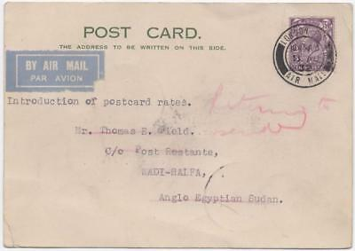 GB: 1932 3d Example on Airmail Postcard to Wadi-Halfa Returned to Sender (11158)