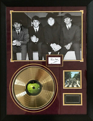 Beatles Gold Disc Poster Framed. Signed by original Beatle Pete Best with COA.