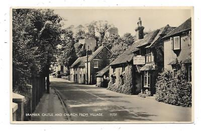 Superb Real Photographic Postcard Of Castle & Church Bramber Sussex From Village