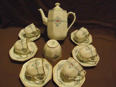 Delphine Pottery China COFFEE SET ( Coffee Pot, 6 cups, 6 saucers, Sugar bowl )
