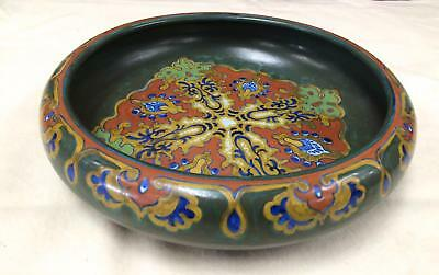 Vintage Gouda Pottery Rhodian round large bowl, dish, Holland floral decorative