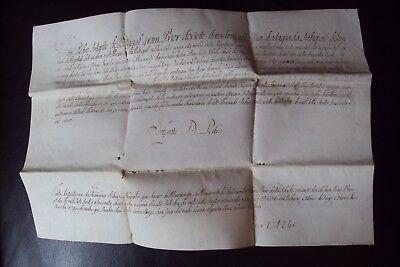 Extremely Rare Old Document In Vellum 1759 Signed By The Prince Of Portugal