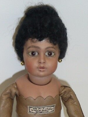 """6.5"""" Reproduction Bru by Cathy Hansen, Bisque, Jointed Head, Glass Eyes, Leather"""