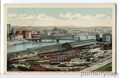 1915 P&LE Yards and Station, Smithfield & Panhandle Bridges Pittsburgh Postcard