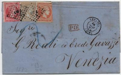 GREECE: 1872 Examples on Entire to Venezia - with Multiple Cancels (10969)