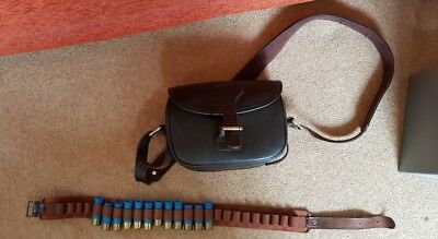 Leather cartridge bag and belt