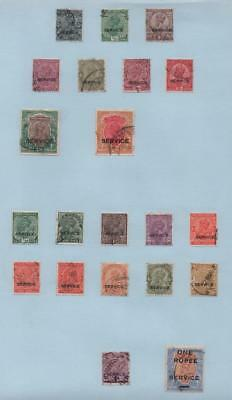 INDIA: Service Overprint Examples - Ex-Old Time Collection - Album Page (10726)