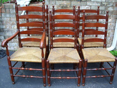 Set 6 Antique Solid Mahogany Ladder Back Woven Rush Seat Chairs