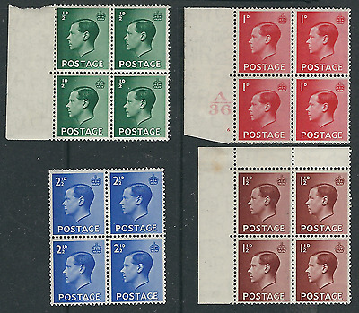 KEVIII 1936: SG_457-460 Definitives in Blocks of 4. Very Fine MNH**.