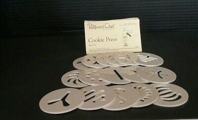 The Pampered Chef Cookie Press Cutter 1525  Replacement Disk Set Of 16