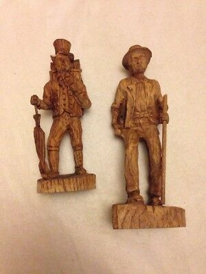 X2 Hand Carved Vintage Man Figure Clock Great!