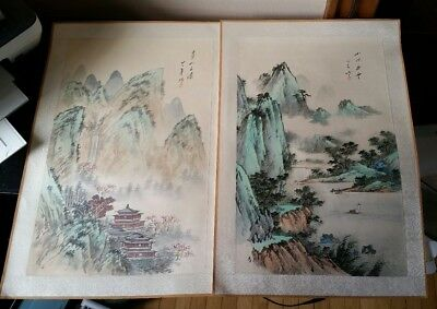 Pair Vintage Chinese Oriental Landscape Watercolor Paintings On Silk Signed