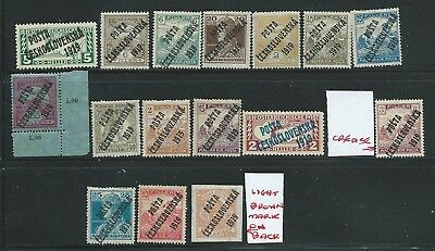 Czechoslovakia Good Lot 1919 Overprints On Hungary Mh Fresh Looking!