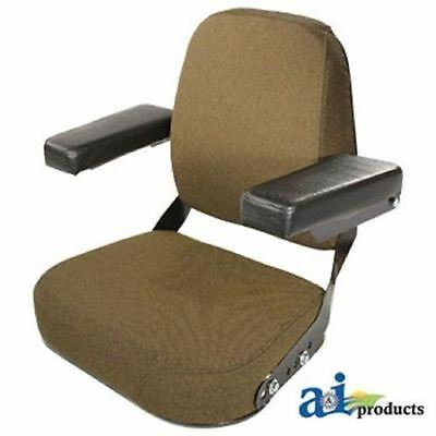 John Deere Complete Seat Assembly, Steel, Flip-Up Arms, BROWN FABRIC for Many Mo
