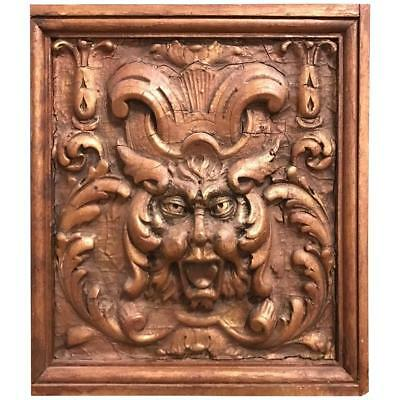 Gothic Style Gilt Gesso Relief of the 'Green Man', Italian, 19th Century