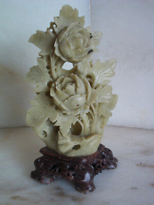 Vintage Asian jade soapstone - chinese carved floral peony