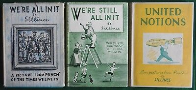 3 Wartime Punch Cartoon Books By Sillince With Dustwrappers