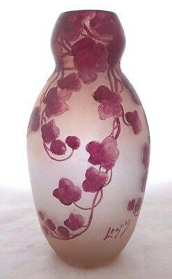 "Antique LEGRAS Signed VASE. RUBIS LINE. Cameo Etched Enameled Glass.14""H. 1875."