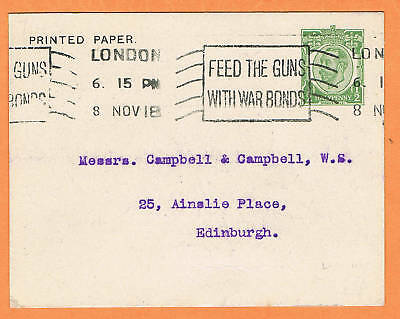 GB 1918 London early slogan cancellation on pre-paid card