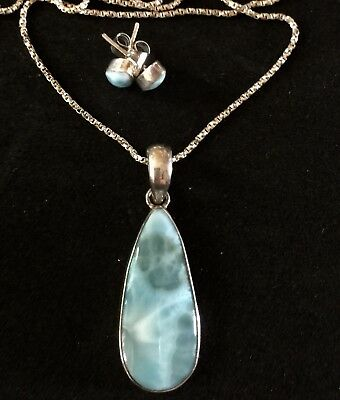 Sterling Silver Lot Larimar Pendant And Post Stud Pierced Earrings Set Chain