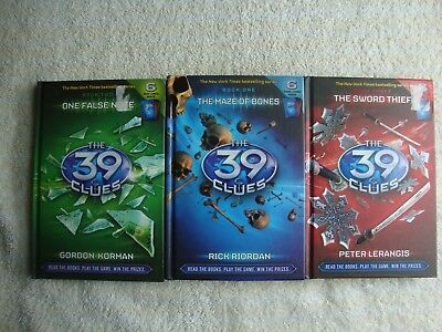 Lot Of 3 Hard Cover books - The 39 Clues (missing cards) #1, #2, #3