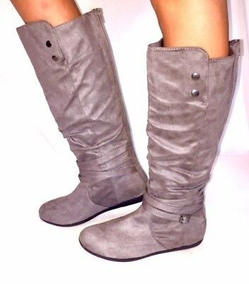 f0af2f77bfac Women s Fashion Low Heel Mid-Calf Knee High Slouch Riding Boots Shoes-Tan  Taupe