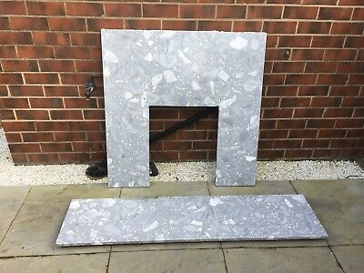 Fire Back Panel and hearth in marble effect