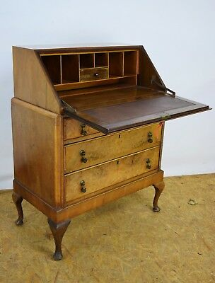 1940's Bureau, Vintage Antique Walnut Bureau, Old Writing Desk, Used Furniture