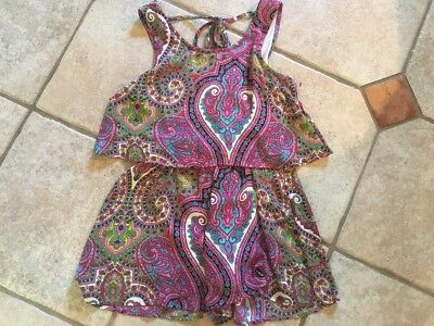 Boutique Truly Me/hanna Banana Girls Multi Color Paisley Romper Shorts-14