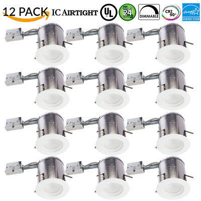 12pk 5/6inch 5000K Smooth LED Recessed Light Kit Remodel CAN & Retrofit W