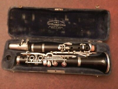 Vintage Wood Clarinet Albert Sys.C? Romeo Orsi Milano New Pads/Corks Orig Case