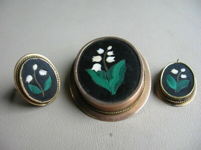Antique Beautiful Pietra Dura 14K Lily Of The Valley Brooch,  Ring & Pendant Set