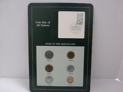 Coin Sets of All Nations Vatican City w/card 500,200,100,50,20,10 Lire 1985 UNC