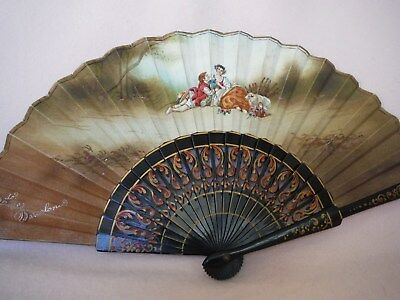 """Antique - Vintage Spanish Hand Fan Hand Painted """"the Lovers """" Beautiful Quality"""