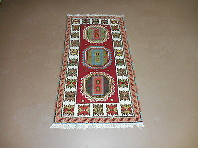 2x4  BREATHTAKING HAND MADE WOOL PERSIAN KAZAK  SERAPI HERIZ VEG DYES RUG