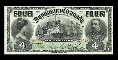 """#DC-17b DOMINION OF CANADA  $4 Bill 1902 """"FOUR"""" AT TOP   VF"""