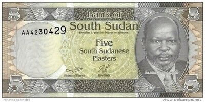 SOUTH SUDAN 5 PIASTERS ND (2011) P-1 UNC [SS107a]