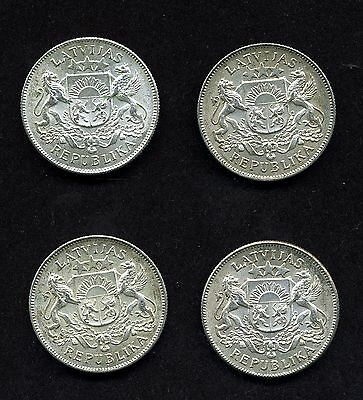 Latvia: 2 Lati .8350 Silver Uncirculated Coins (Lot of 4)