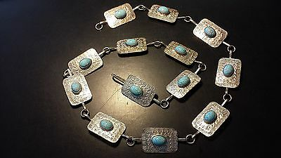 Vintage Mexican Sterling Silver Concho Belt with Mounted Turquoise Stones